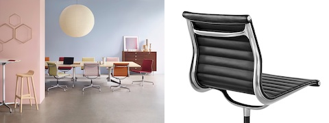 Two images. One with Eames Aluminum Group office chairs with bright fabric upholstery at a table. The other of a leather upholstered Eames Aluminum Group Chair from behind.