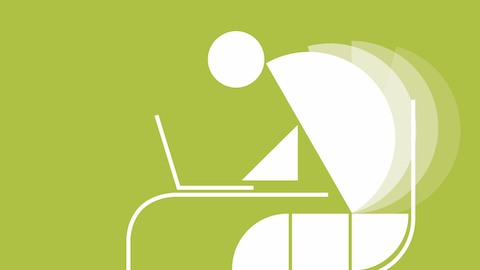 Abstract illustration of an office worker slumping over a desk. Select to view a video about ergonomic monitor positioning.