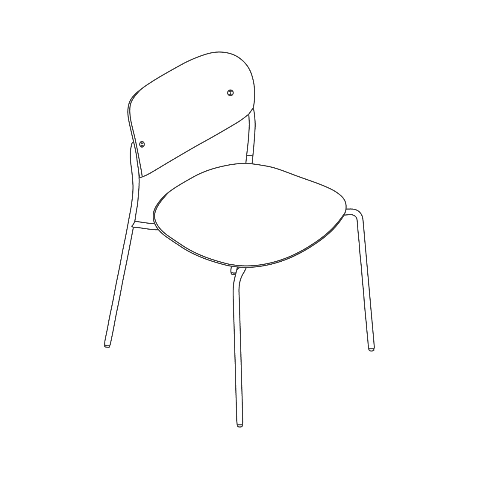 A line drawing - Portrait Chair–Armless–Wood