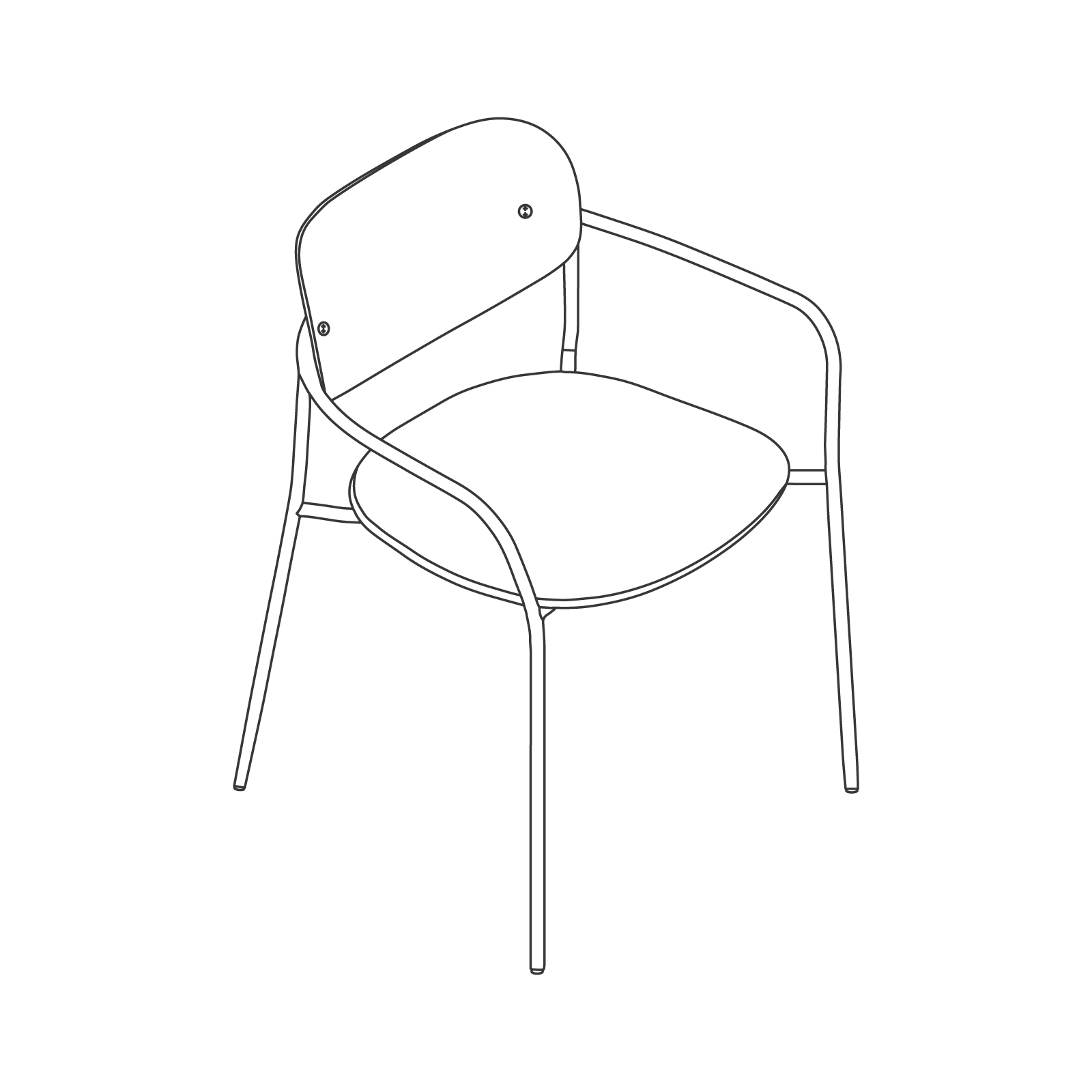 A line drawing - Portrait Chair–With Arms–Upholstered Seat–Wood Back