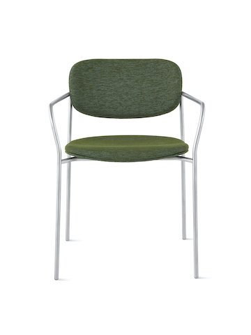 Portrait Chair with upholstered seat and back, SAC frame with arms.