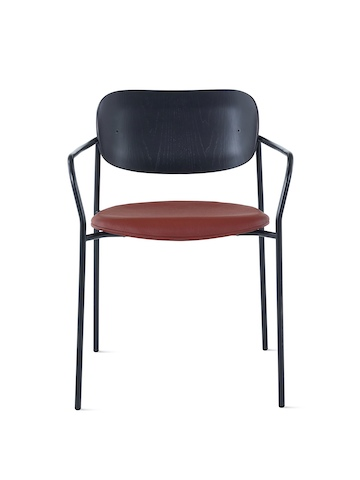 Portrait Chair with ebony ash back, Tenera leather seat, and black frame with arms.