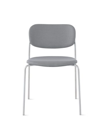 Portrait Chair with upholstered seat and back, satin chrome frame with no arms.