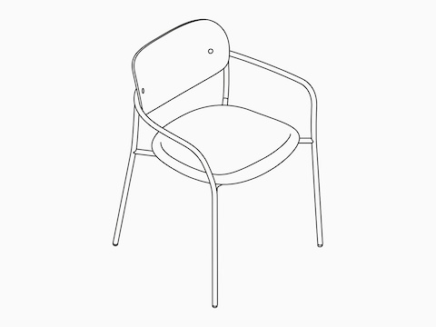 An isometric drawing of the Portrait Chair.