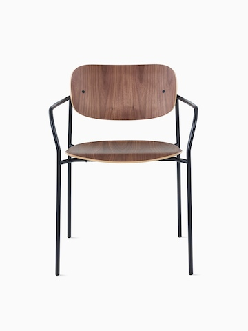Portrait Chair with walnut seat and back and black frame with arms.