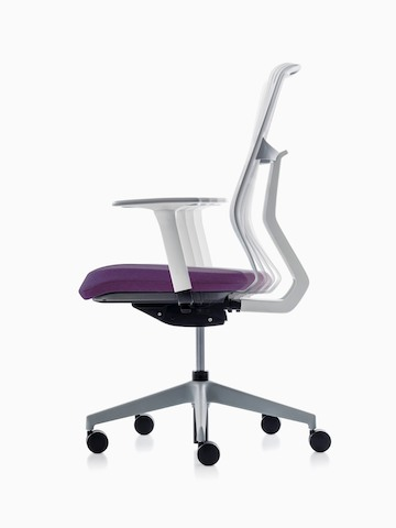A POSH Activity Chair with purple upholstered seat and white frame, viewed from the side.