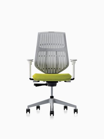 A POSH Activity Chair with green upholstered seat and grey frame, viewed from the front.