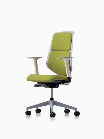 A POSH Activity Chair with green upholstered seat and cushion back, viewed at an angle. Select to go to the POSH Activity Chair product page.