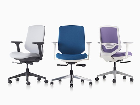 Three POSH Express 2 Chairs in gray, blue, and purple in front and back profiles.