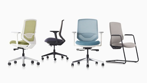 Four POSH Express 2 Chairs in green, black, blue, and gray in front and back profiles.