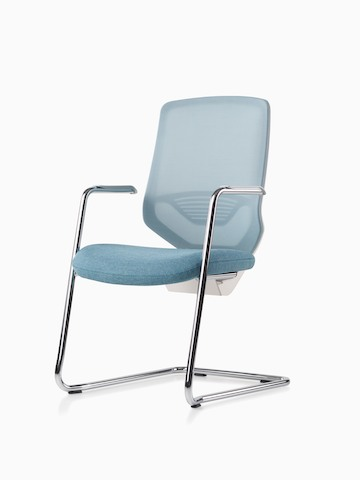 A POSH Express 2 side chair with mesh back and cantilever anodized chrome base.
