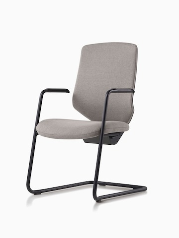 A POSH Express 2 side chair with gray upholstered back and powder-coated black base.