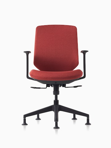 A POSH Express 2 work chair with red upholstered back, black frame, black base and glides.