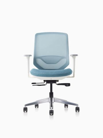 A POSH Express 2 Chair with a white frame and blue textile seat on a caster base featuring a mesh back with lumbar support.