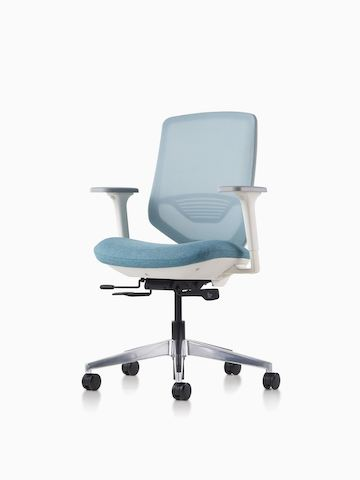 A POSH Express 2 Chair with a white frame and blue textile seat on a caster base featuring a mesh back with lumbar support. Select to go to the POSH Express 2 Chair product page.