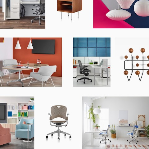 A montage of Herman Miller products. Select to access our library of product images.