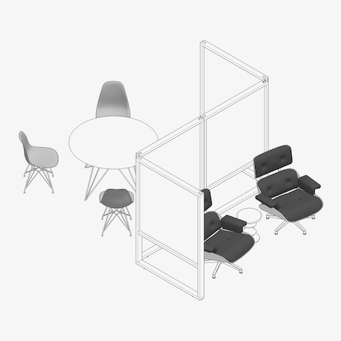 An overhead view of a Magis Tavolo XZ3 Table surrounded by Eames Molded Chairs with a screen space divider and two Eames Lounge Chairs on the other side of the screen. Select to review and download planning idea files.
