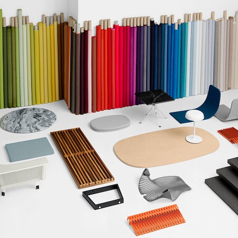 A sampling of materials for various Herman Miller products. Select to review the materials palette available for our products.