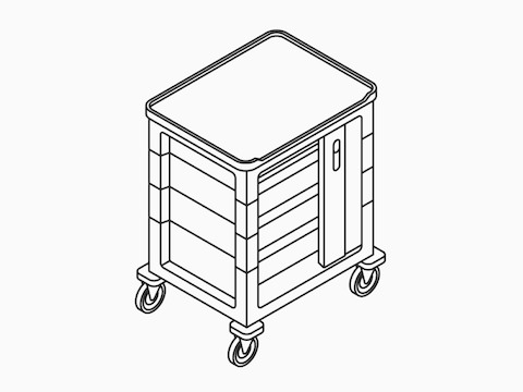 A line drawing of a single-wide supply cart with a keyless lock.