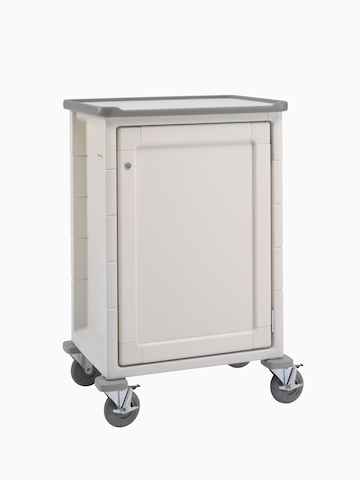 A mobile Procedure/Supply Cart with a keyed lockable door.