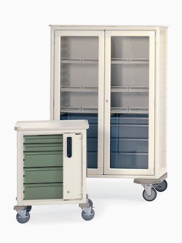 Two Procedure/Supply Carts, one with drawers and keyless entry and one with clear doors and keyed entry.