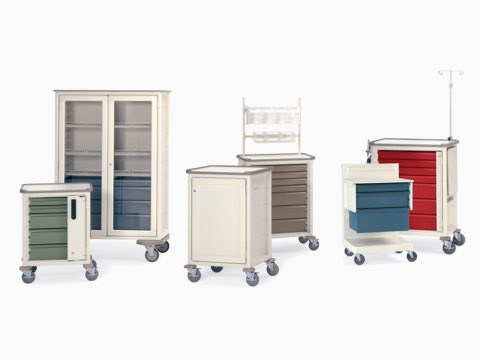 Six Herman Miller Procedure/Supply Carts in various sizes, configurations, and colors.