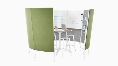 An 8-panel Prospect Creative Space with green acoustic fabric on the outside and sketches on the whiteboards inside.