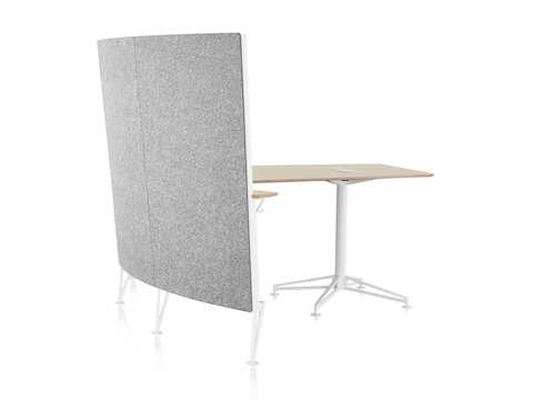 A view from the back of a Prospect Media Space with gray acoustic fabric, white frame and legs, and a plywood desktop.