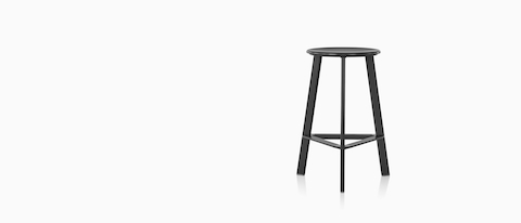 A black Prospect Stool on a white background.