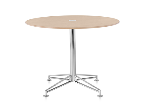 A Prospect Table with a wood top and polished chrome base with integrated power through the column.