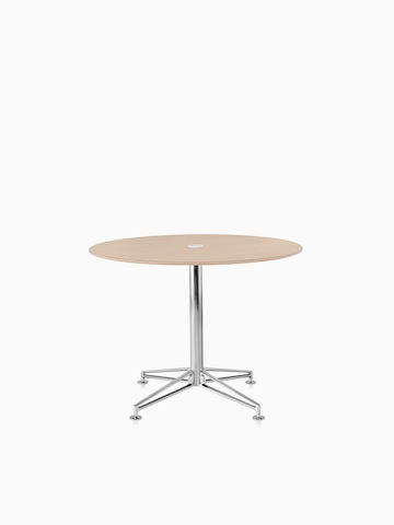 A Prospect Table with a wood top and polished chrome base. Select to go to the Prospect Tables product page.