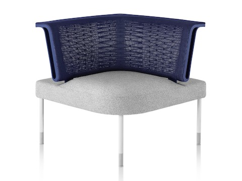 A gray and blue social chair, the core component of the Public Office Landscape system.