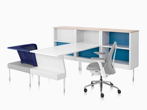 A Public Office Landscape workstation consisting of surface, storage, and seating components.
