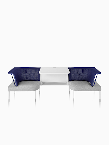 Two blue-and-gray Public Office Landscape social chairs. Select to go to the Public Office Landscape product page.