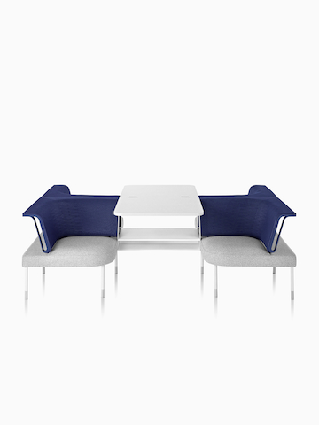 Two blue and gray Public Office Landscape social chairs. Select to go to the Public Office Landscape product page.