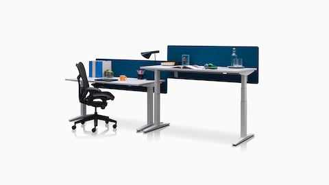 Adjacent Ratio adjustable desks positioned at seated and standing heights with blue privacy screens.