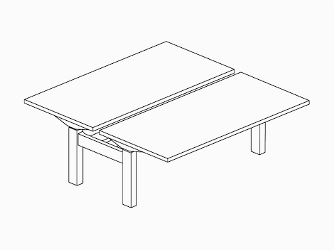 A line drawing of two back-to-back Ratio height-adjustable desks.