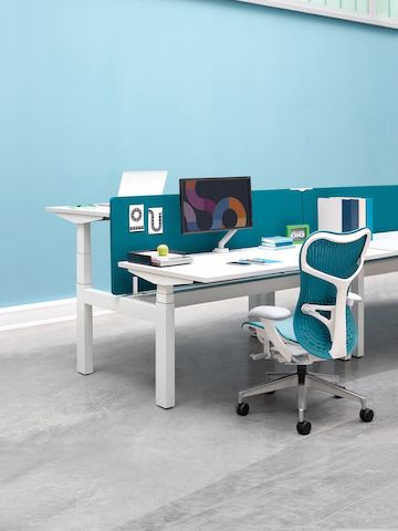 A benching configuration with back-to-back Ratio height-adjustable desks separated by blue privacy screens.