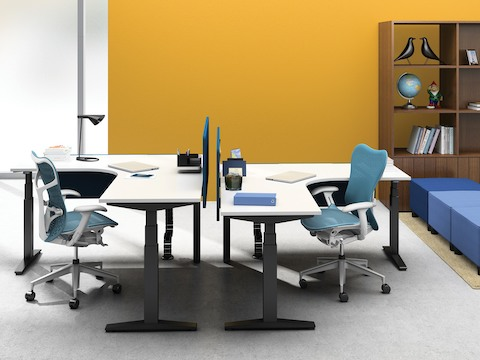 Two 90-degree Ratio height-adjustable desks, each paired with a blue Mirra 2 office chair.