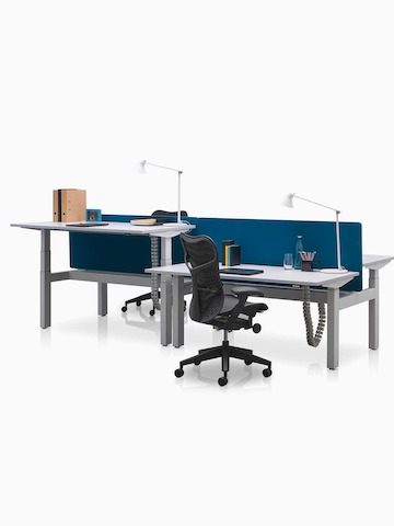 Adjacent Ratio height-adjustable desks positioned at seated and standing heights with blue privacy screens.