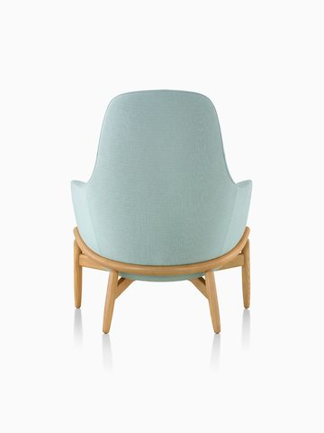 A high-back Reframe Lounge Chair in Saille Celadon, viewed from behind.