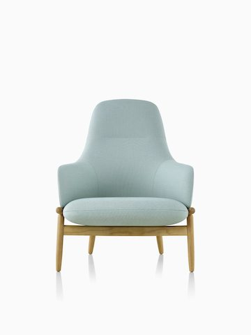 A high-back Reframe Lounge Chair in Saille Celadon, viewed from the front.