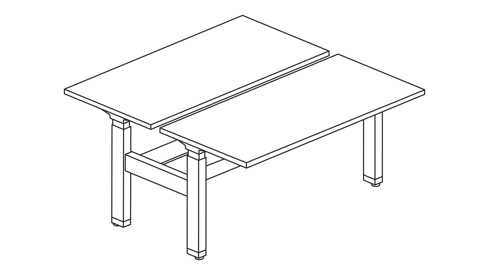 A line drawing of a Renew Link standing desk system in a back-to-back rectangular bench configuration.