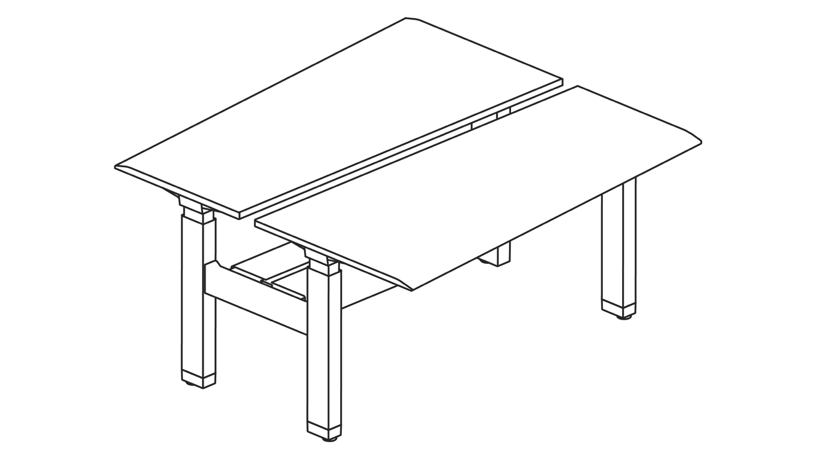 A line drawing of a Renew Link standing desk system in a back-to-back trapezoidal bench configuration.