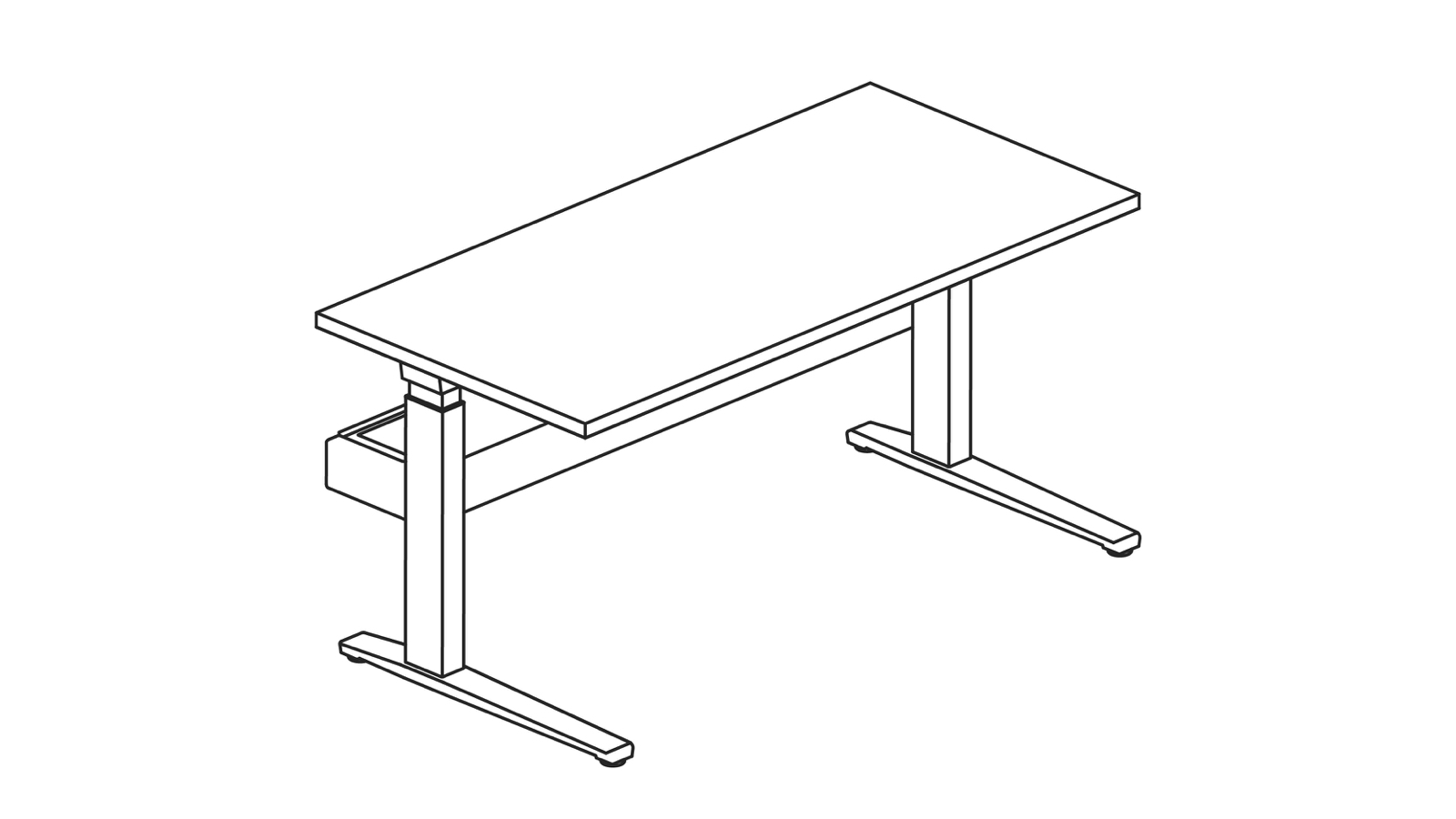 A line drawing of a Renew Link standing desk system in a single-sided rectangular bench configuration.