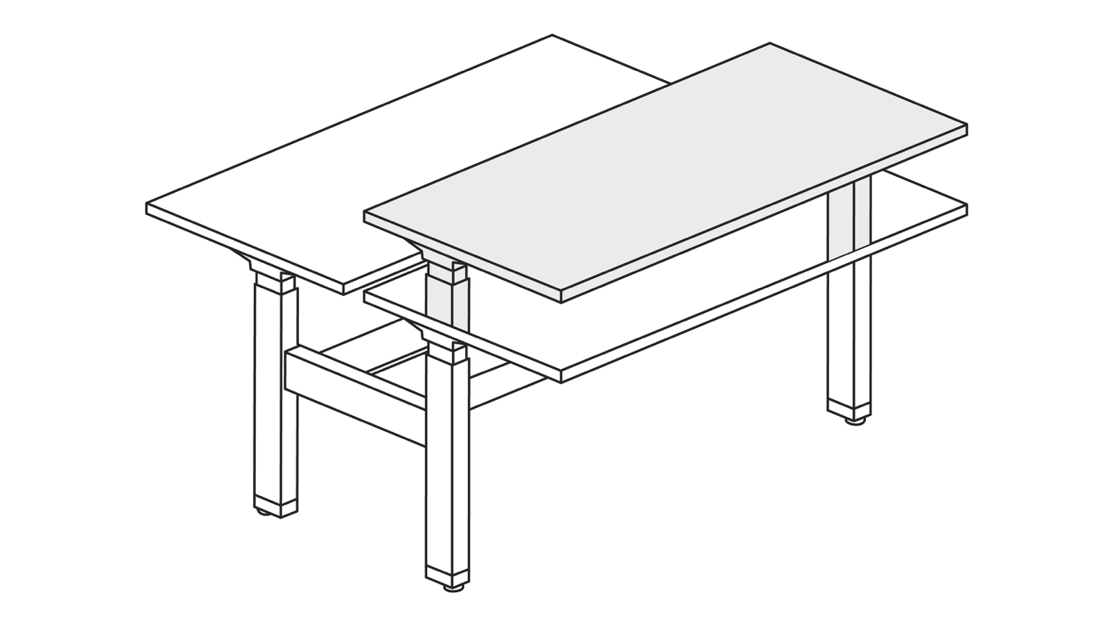 A line drawing of a Renew Link standing desk system with one desk raised to standing height.