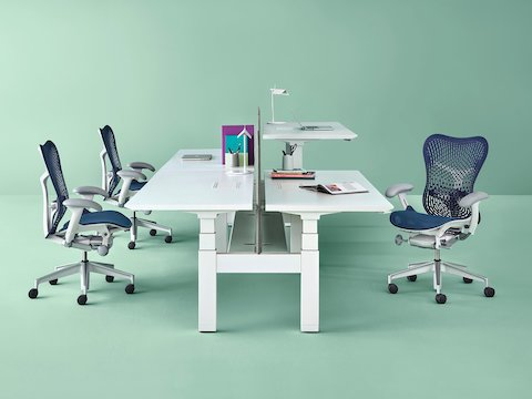A Renew Link standing desk system with white work surfaces and blue Mirra 2 office chairs. One of the four desks is raised to standing height.