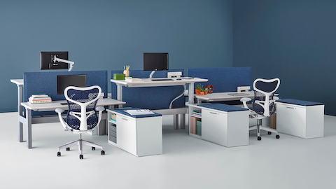 A Renew Link standing desk system with blue Mirra 2 office chairs, blue fabric divider panels, and lower personal storage. Two of the six desks are raised to standing height.
