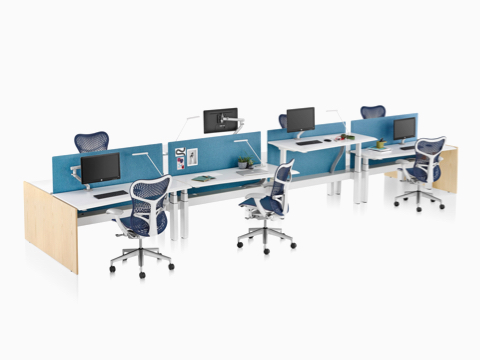 A Renew Link standing desk system with white work surfaces, blue fabric divider panel, and blue Mirra 2 office chairs. One of the eight desks is raised to standing height.