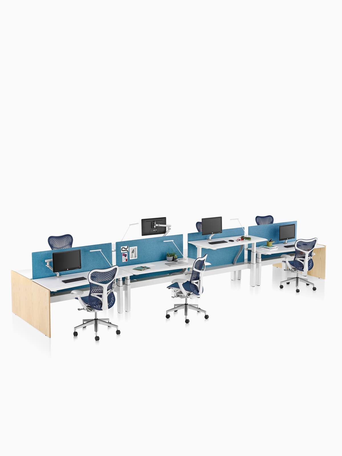 A Renew Link standing desk system with blue Mirra 2 office chairs and blue fabric divider panels. Two of the eight desks are raised to standing height.
